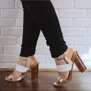 White and gold strapped heels
